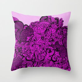 Squirrels Zentangle Drawing Pink Throw Pillow