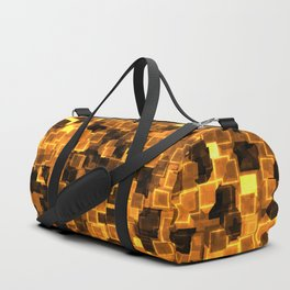 Golden Cyber Glow Neon Squares Pattern Duffle Bag