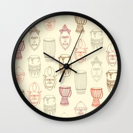 African drums and masks Wall Clock