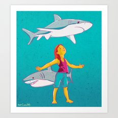 Flying Shark Art Print
