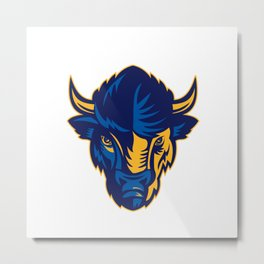 American Bison Head Retro Metal Print