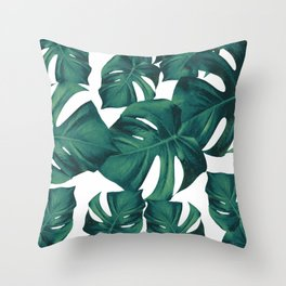 Monstera Leaves Pattern #3 #tropical #decor #art #society6 Throw Pillow