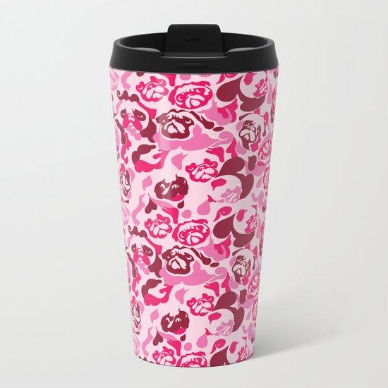 Pug Camouflage Pink Metal Travel Mug
