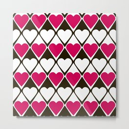 Abstract print with hearts Valentines Day love Metal Print
