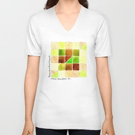 Color Chart - Quinacridone Burnt Orange DS and Phthalo Yellow Green DS Unisex V-Neck