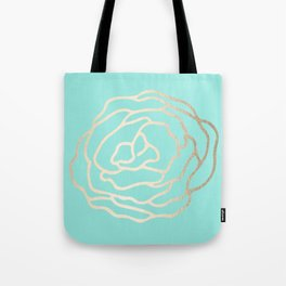 Flower in White Gold Sands on Tropical Sea Blue Tote Bag