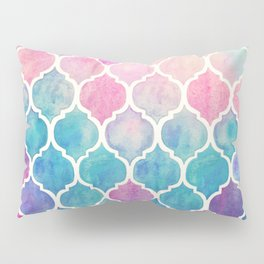 Rainbow Pastel Watercolor Moroccan Pattern Pillow Sham
