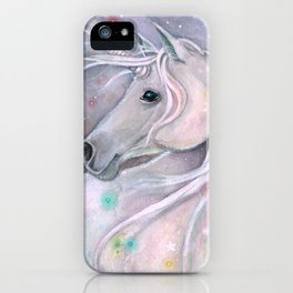 Twinkling Lights Unicorn Fantasy Watercolor Art by Molly Harrison iPhone Case