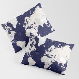 "Navy blue and cream world map, ""Austin"" Pillow Sham"