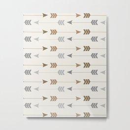 Tribal Arrows Pattern - Cream, Brown and Grey Metal Print