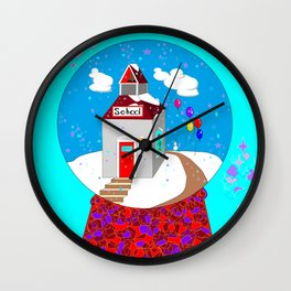 A Winter Wonderland Snow Globe School House Wall Clock