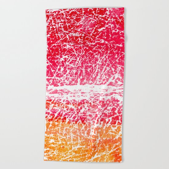 Red and yellow abstract texture Beach Towel