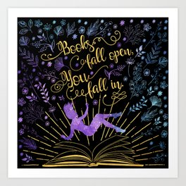 Books Fall Open - Gold Art Print
