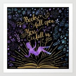 Books Fall Open - Gold Art Print