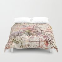 houston Duvet Covers featuring Houston by MapMapMaps.Watercolors