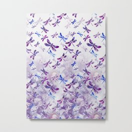 Dragonfly Lullaby in Pantone Ultraviolet Purple Metal Print