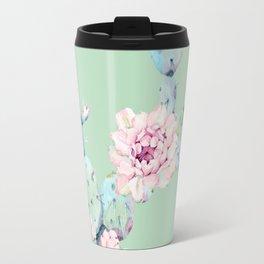 Rose Desert Cactus Mint Green + Pink Travel Mug