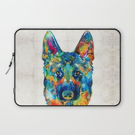 Colorful German Shepherd Dog Art By Sharon Cummings Laptop Sleeve