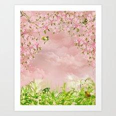 cherry blossom in the sky Art Print