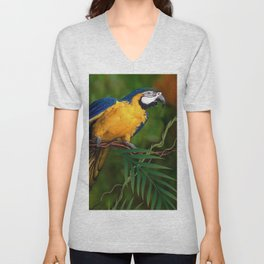 BLUE-GOLD MACAW PARROT IN JUNGLE Unisex V-Neck