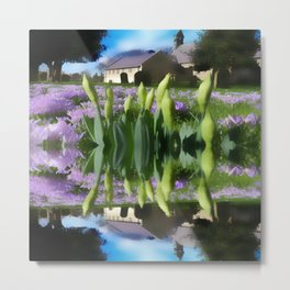 Church flowers in reflection Metal Print