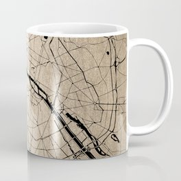 Paris France Minimal Street Map - Gold on Black II Coffee Mug