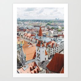 Aerial City View from the Church of St. Peter Tower in Munich, Germany Art Print