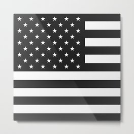American Flag Stars and Stripes Black White Metal Print