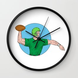 Quarterback QB Throwing Ball Circle Drawing Wall Clock