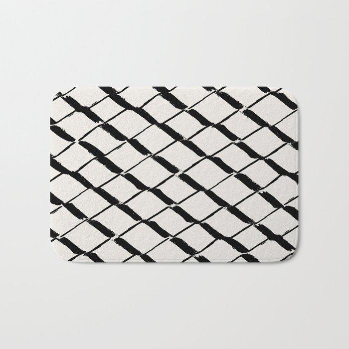 Modern Diamond Lattice Black On Light Gray Bath Mat By