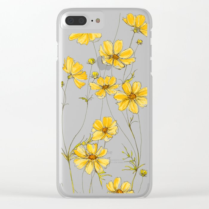 huge selection of a2e86 9c8f6 Yellow Cosmos Flowers Clear iPhone Case by jrosedesign