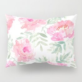 Watercolor Peonie with greenery Pillow Sham