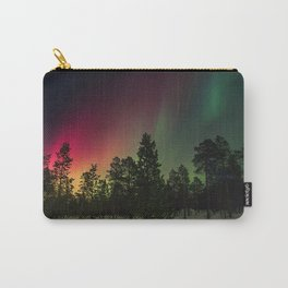 Rainbow colors of northern lights in pine forest at midnight Carry-All Pouch
