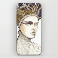 Portrait illustration in golden markers and pencils iPhone & iPod Skin