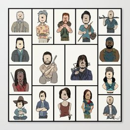 The Walking Dead 16 Character Collage Canvas Print