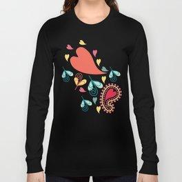 Paisley and Hearts Summer Pattern Long Sleeve T-shirt