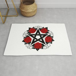 Pentagram with Red Roses Rug