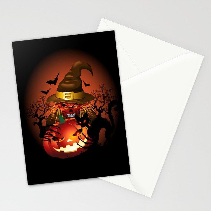 Skull Witch Creepy Halloween Stationery Cards