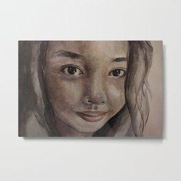Watercolor portrait pretty asian girl Metal Print
