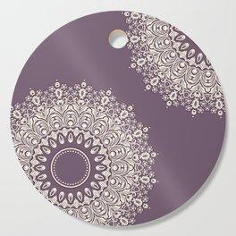 Asymmetric Mandalas on Mulberry Background Cutting Board