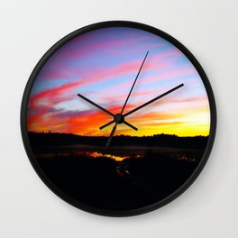 Sunset in the wood Wall Clock