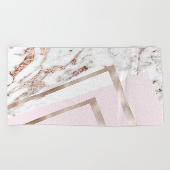 Geometric marble - luxe rose gold edition I Beach Towel
