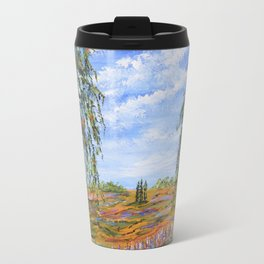 Lupines & Peaches, Modern Impressionism Painting, modern art Travel Mug