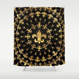 Fleur-de-lis - circular ornament - Gold and black Shower Curtain