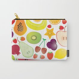 Healthy lifestyle. Fruits on white background Carry-All Pouch