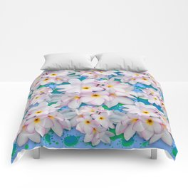 Plumeria Bouquet Exotic Summer Pattern Comforters