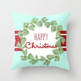 Happy Christmas striped holiday Throw Pillow