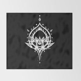 Grunge Lotus - White Throw Blanket