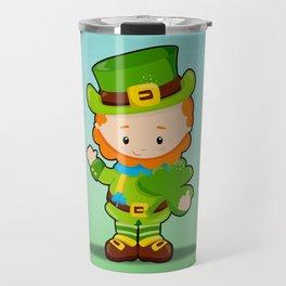 St. Patrick's Day: Lucky Leprechaun With Shamrock Travel Mug