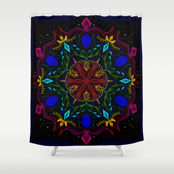 Carnival of Twisted Rainbows Shower Curtain